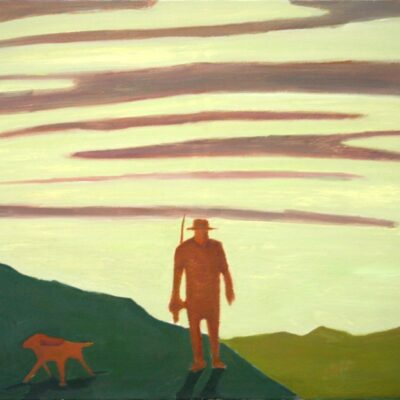 "The Fisherman and Dog. Outdoor Life Series 30"" x 36"""