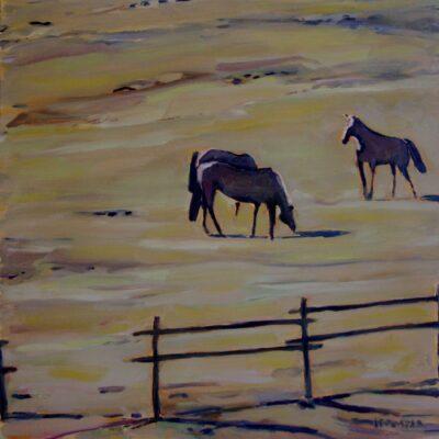 """Three Horses I - 16"""" x 16"""""""