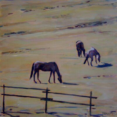 """Three Horses III - 16"""" x 16"""""""