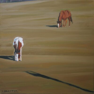 """Two Horse 12"""" x 12"""""""