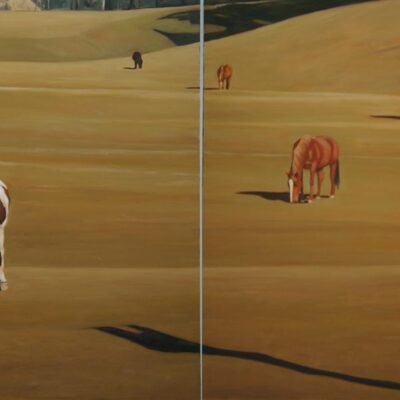 """Five Horse 30"""" x 48"""" Diptych"""