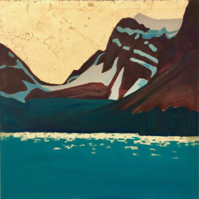 "'Bow Lake and Crowfoot Mountain', Oil and Goldleaf on canvas, 36"" x 36"""