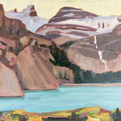 "Bow Lake (on location study', oil on board, 10"" x 12"""