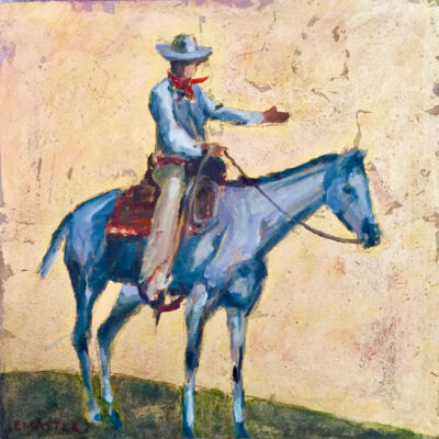 "A Cowboy Welcome  - 12"" x 12"", Oil and Goldleaf on board"