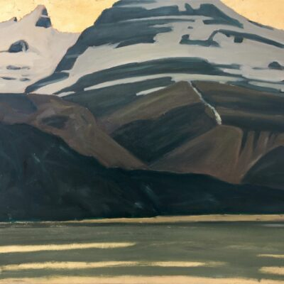 "Saint Nicholas Peak and Bow Lake oil and goldleaf on canvas - 36 "" x 36 """